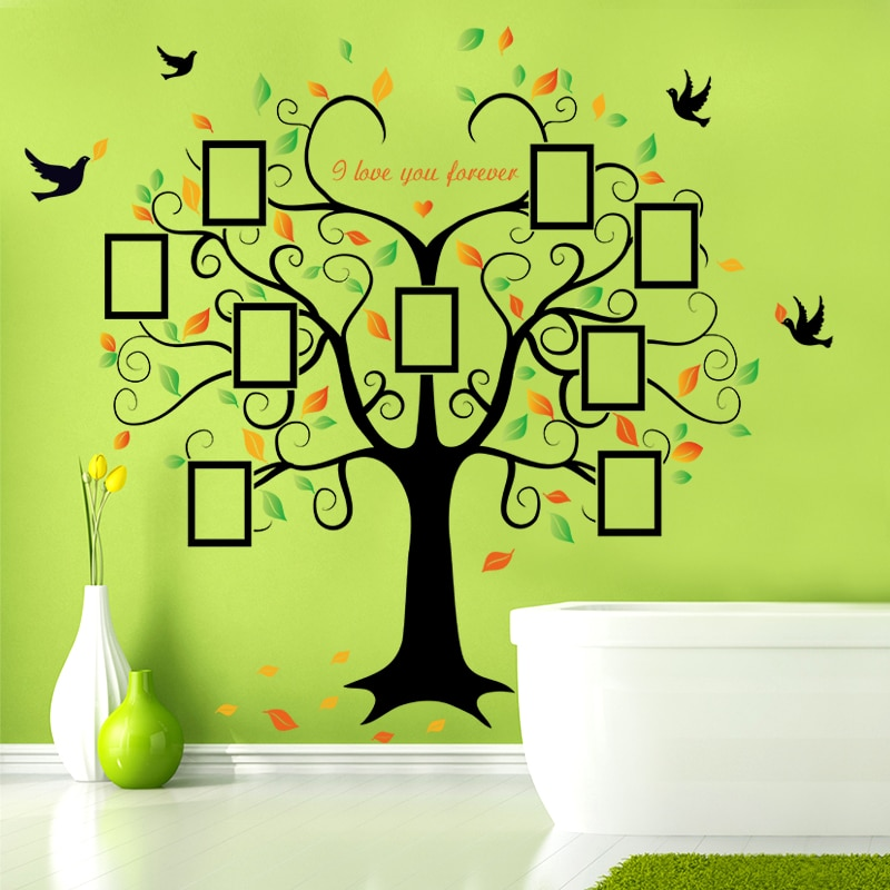 Купить с кэшбэком Large 160*204cm Family Tree Heart-shaped Photo Frame Wall Sticker Love You Forever Bird Decals Mural Art Home Decor Removable