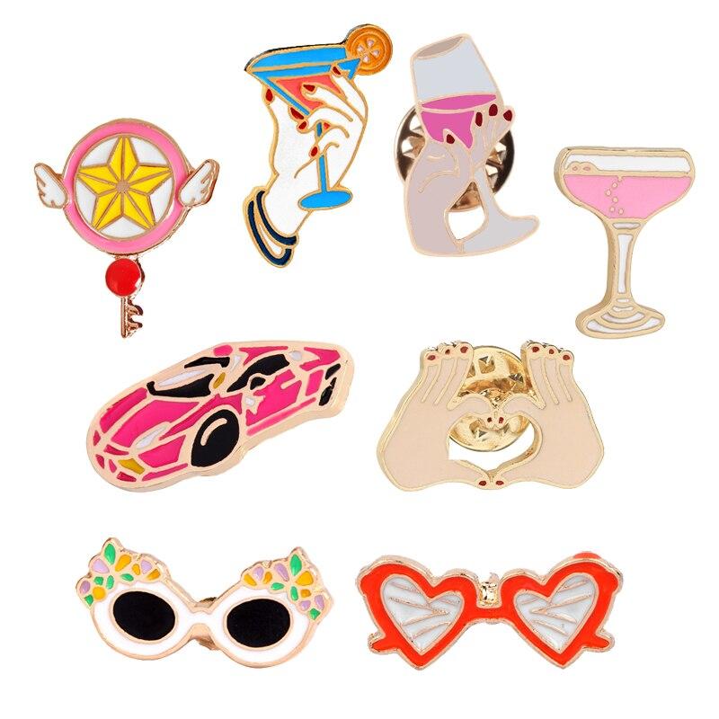 Emblemas de metal ícone broches para crianças carro brinquedo óculos de sol copo vinho cálice fada varinha mágica coração gesto esmalte lapela pinos jóias