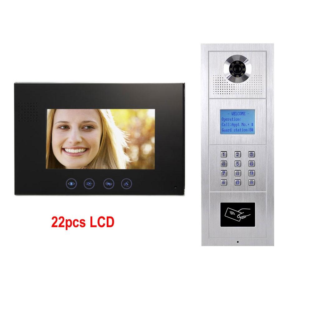7 zoll LCD Monitor Legierung Farbe HD IP55 Wasserdichte Kamera Digital Multi-Wohnung Gebäude Video Doophone Intercom System 22 LCD