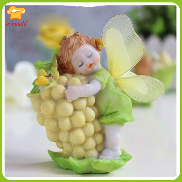 Muñeco de uvas molde creativo de silicona hecho a mano jabón molde de adorno para el hogar molde de silicona para velas molde de Ángel de uva