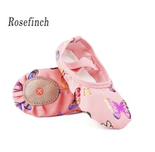 Zapatos de Ballet de fondo suave de lona Rosa zapatos de baile con estampado de mariposa zapatillas de Yoga zapatos de punto para niñas B24