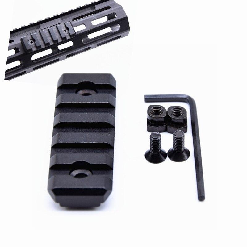 Ranura 5 ultrafino MLOK carril sección AR15 M4 M16 M-lok guardamanos 20mm adaptador de riel Picatinny carril táctico Base