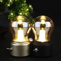 led bulb classical blowing desk lamp decoration light retro usb rechargeable night light desk table led lamp blackgolden