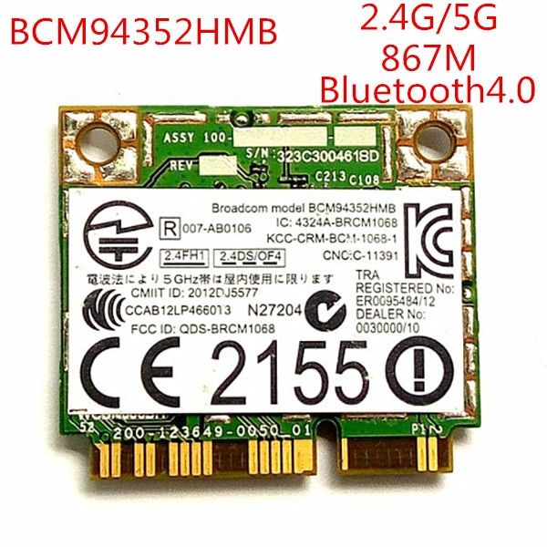 Drahtlose wifi BT4.0 Wlan Für Broadcom BCM94352HMB Dell DW1550 Wireless-AC 867 Mbps 802.11ac hälfte Mini PCI-e bluetooth wifi karte