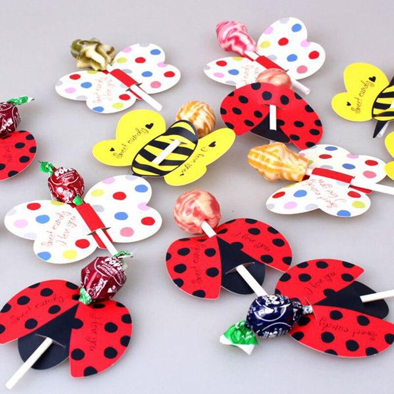 50 sztuk/partia śliczne owady pszczoły biedronka motyl dekoracja lizakowa karta urodziny dekoracja na przyjęcie ślubne cukierek w kształcie pałeczki prezenty dla dzieci