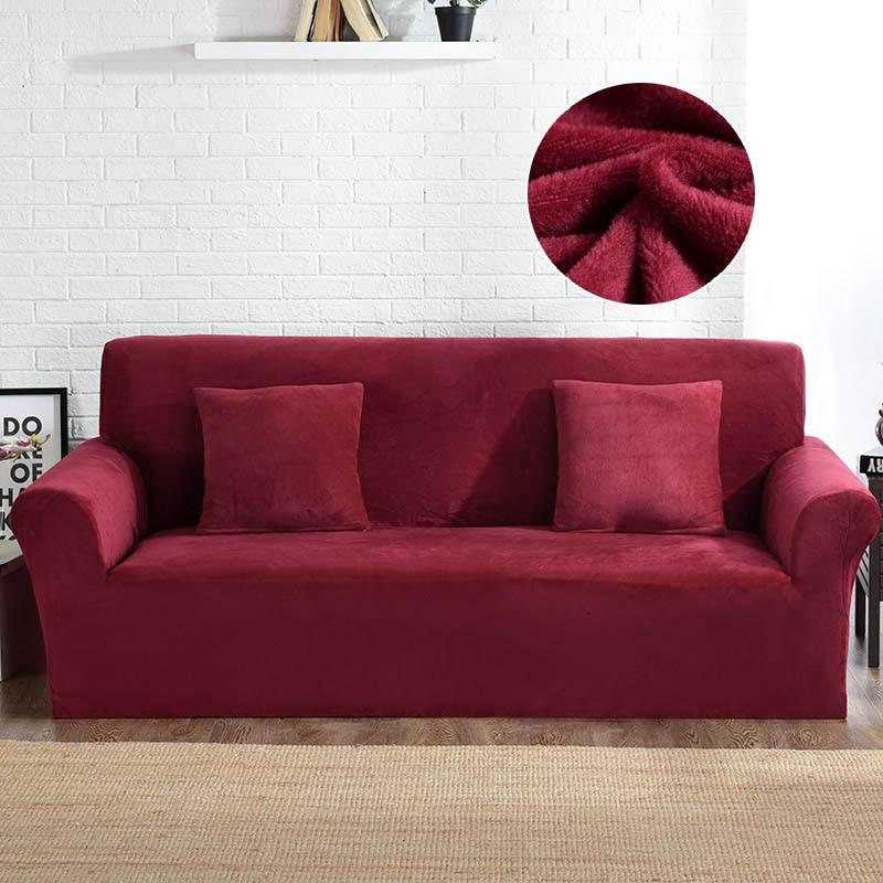 Slipcovers Sofa Plush Fabric 1/2/3/4 Seater Couch Cover Thick Sofa Covers Elastic Furniture Slipcover Christmas funda sofa 1pc