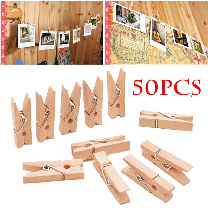 50Pcs/Pack Mini Photo Clothes Clip Wooden Spring Clips Home Organizer Clothespin Paper Pin Peg Clothespin Home Decor Craft