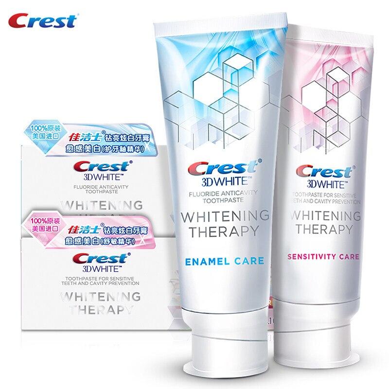 Crest 3D diamante brillante blanco pasta de dientes esmalte/cuidado de la sensibilidad suave blanqueamiento manchas mal respiración eliminación con fluoruro 2 piezas