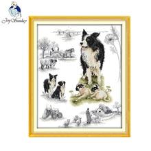 Kits de motifs de style animal joie du dimanche   Chien Herding, point de croix, artisanat fait main brodé avec tableau