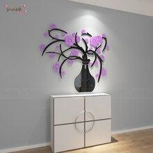 Vase en cristal 3D tridimensionnel violet   Autocollant mural créatif de fleur, décoration murale de fond de couloir dentrée de salle à manger