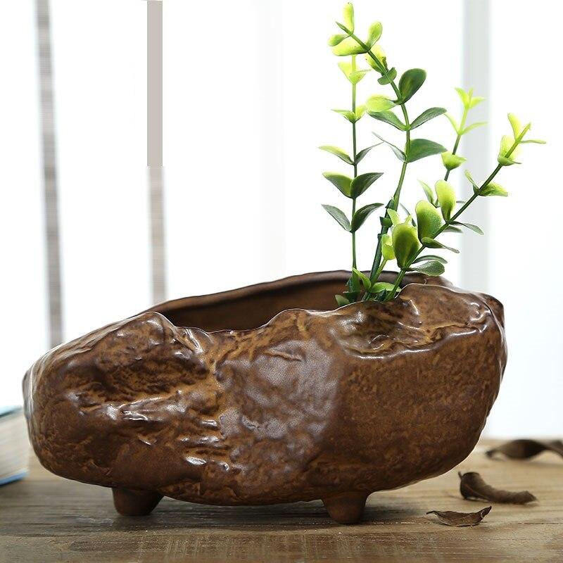 Jarrón de forma Irregular de cerámica de estilo chino antiguo, hecha a mano maceta de cerámica, accesorios de decoración de arte y artesanía
