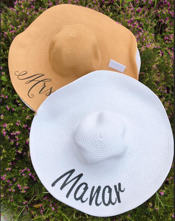 Customize beach wedding Bride bridesmaid maid of honor Bachelorette floppy Sequin Sun Wide Brim Hats Honeymoon party gifts