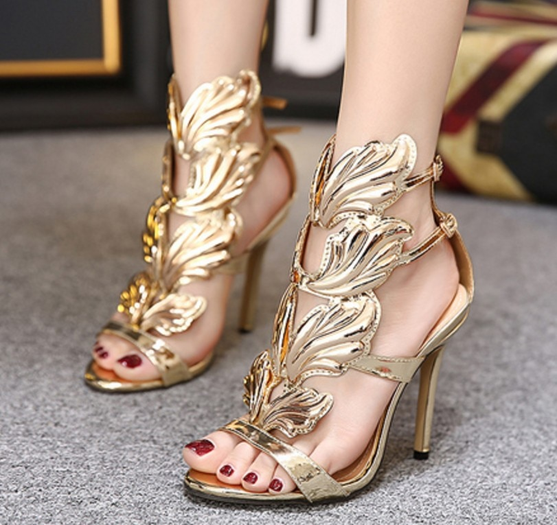 Koovan sandálias femininas sexy sandálias de metal asas de salto alto com os dedos abertos sandálias femininas verão 2019 meninas sapatos