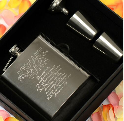 8oz 7oz 6oz 4PCS/set portable 304 stainless steel embossed absolut vodka liquor hip flask wine pot flagon funnel cup gift BJJ331