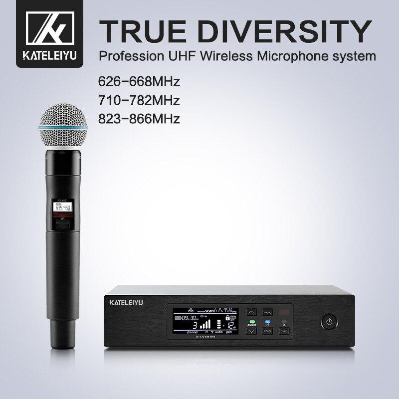 Profesional puesta en escena QLXD4 micrófono de mano sistema profesional Inalámbrico UHF Karaoke micrófono cantante DJ