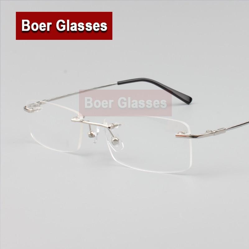 Gafas sin montura con memoria de titanio flexible para hombre, gafas graduadas con montura óptica para gafas 8119