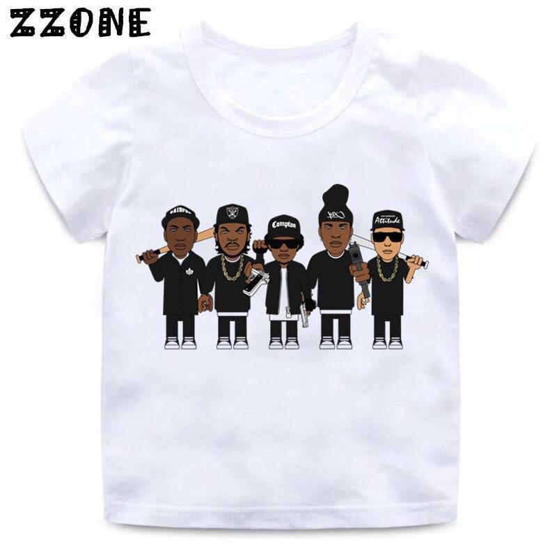 Niños y Niñas NWA Straight Outta Compton imprimir camiseta bebé verano blanco Tops camiseta niños Casaul ropa, HKP558