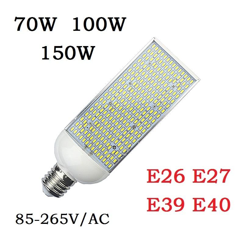 70W 100W 150W E27 E26 LED corn Bulbs E40 E39 street Lamp 110V 220V high bay Lighting outside parking Poles Lights Bombillas 2pcs