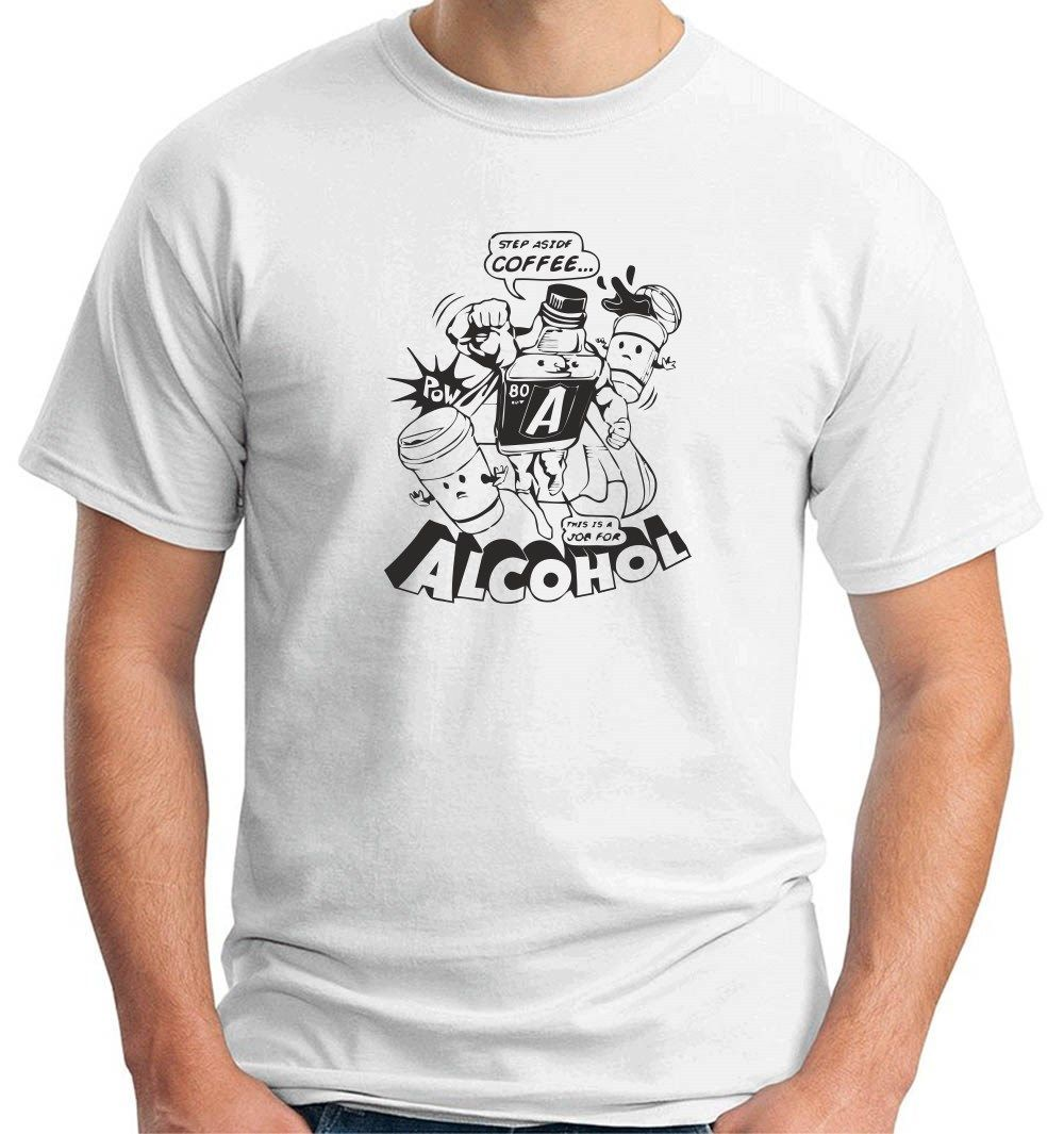Camiseta MAGLIA MAGLIETTA UOMO FN0095 ALCOHOL diferente ALCHOL BERE mangas cortas algodón camiseta Top blanco