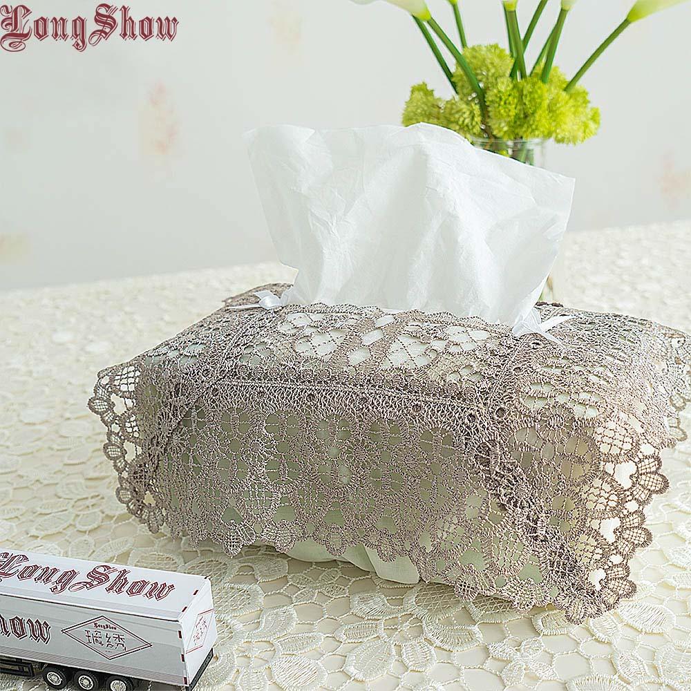Design criativo original casa casa hotel mesa decorativa bordado xadrez elástico branco cinza taupe tecido caixa capa