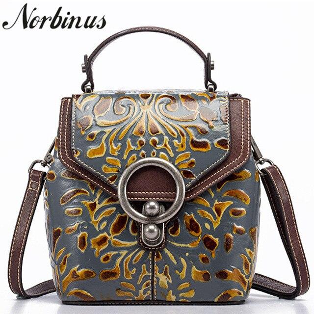Norbinus vintage feminino genuíno couro mochila designer de luxo em relevo pequeno daypack senhoras ombro crossbody sacos