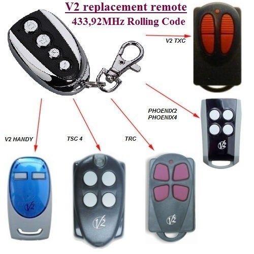 V2 Phoenix2, V2 Phoenix4 control remoto Universal transmisor reemplazo, clone 433,92 MHz código de giro