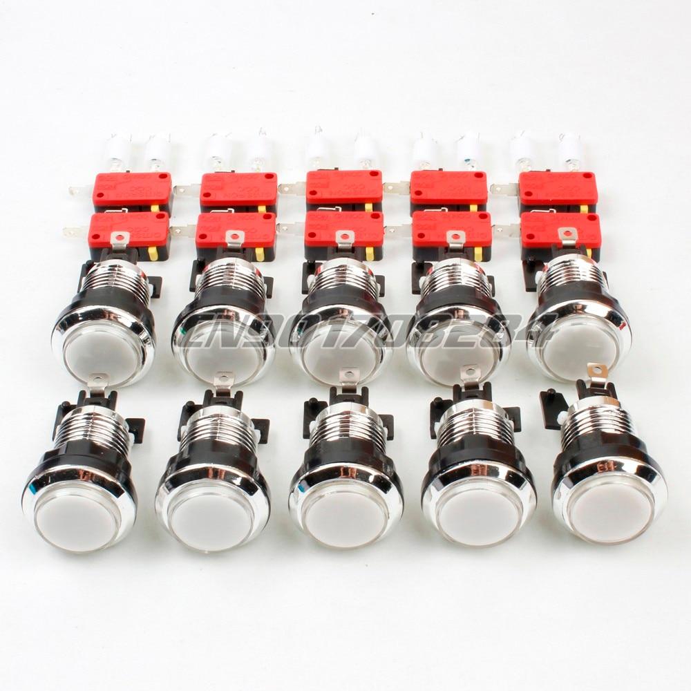 Botones de presión iluminados con LED plateado cromado de 10x30mm para máquinas de Arcade, juegos Mame Jamma, piezas blancas