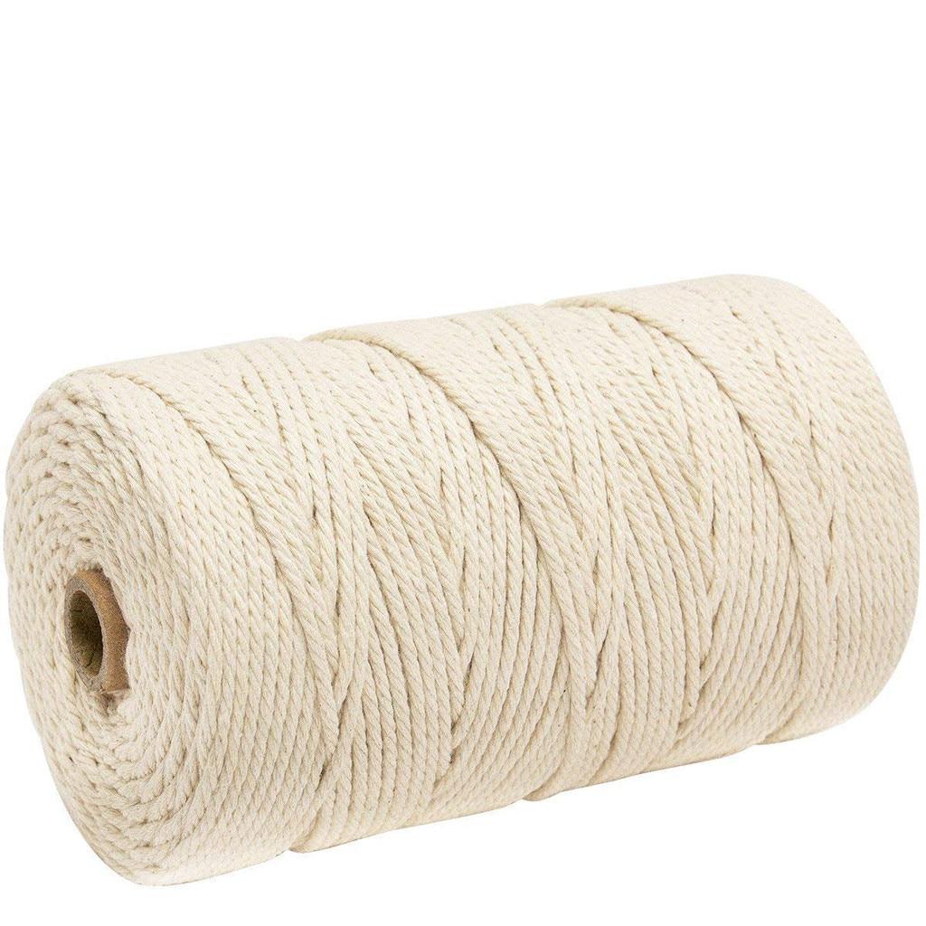 Cuerda de algodón de 200m, cuerda suave trenzada, cuerda blanca de algodón DIY hecha a mano, hilo de atado de macramé, etiquetas de ropa, cuerda de cáñamo # N