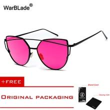 WarBLade Sun glasses Fashion metal cat eyes sunglasses for men women classic mirror oculos gafas de