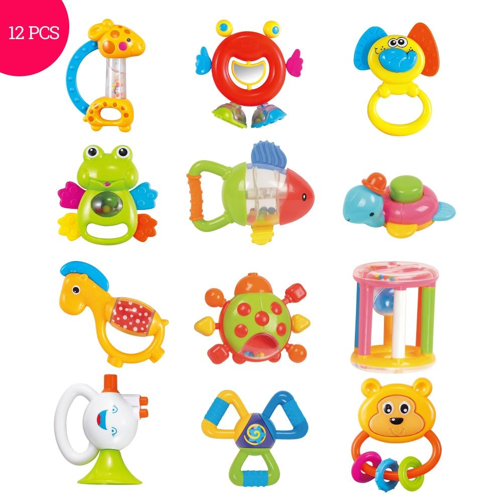 Brinquedos do bebê plástico mão jingle, agitação sino bonito mão shake sino anel 12 peças bebê chocalhos brinquedos recém-nascido 0-12 meses brinquedos mordedor