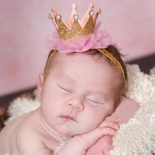 Diadema de corona para recién nacido, corona de princesa dorada, banda para el pelo para niñas, accesorios para fotos para niños, accesorios para el cabello para niños, 1 ud.