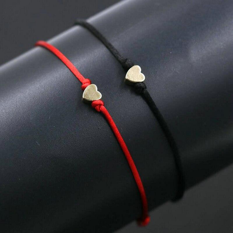 2 unids/set de cobre hecho a mano amor amuleto con forma de corazón pulsera hilo de cuerda roja brazaletes de cuerda para los amantes de las mujeres de los hombres de las parejas