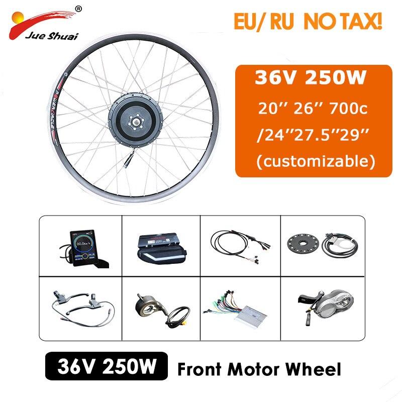 Kit de conversión de bicicleta eléctrica, 36V, 250W, 20