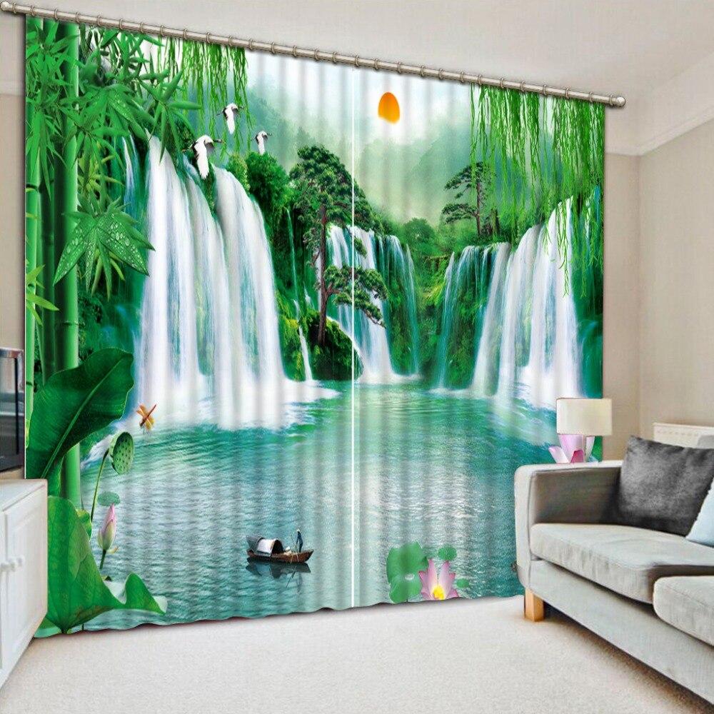 Mordern-rideaux de fenêtre occultants 3D   Rideaux de mode en cascade, personnalisé, paysage, lac de Lotus, pour salon, literie, chambre dhôtel