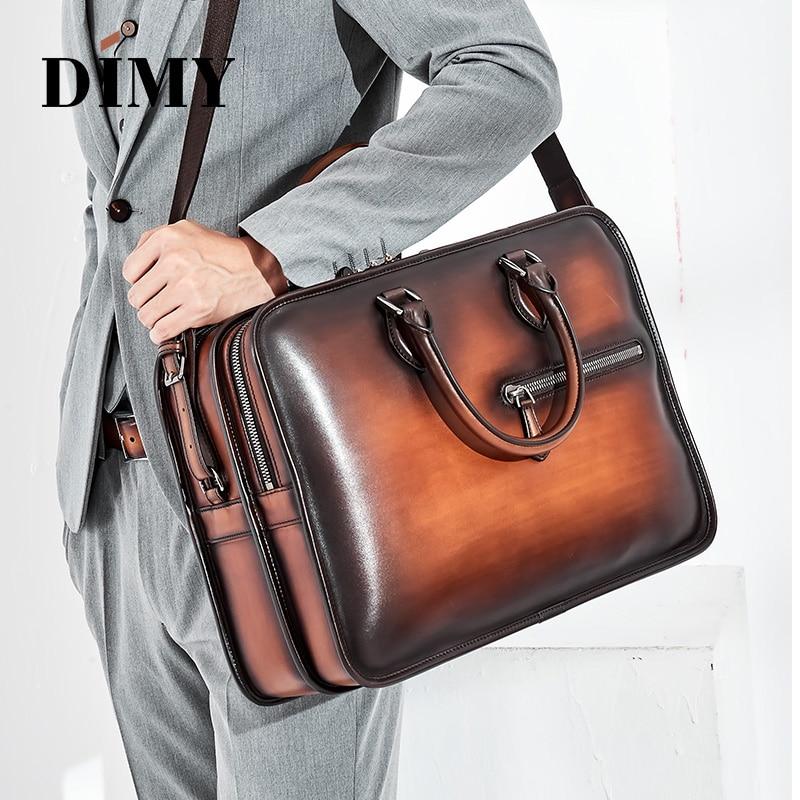 DIMY Hand Patina, maletines de cuero para hombre, bolso de piel de becerro holandés, bolsas de negocios, doble bandolera con cremallera, bolsa para caballero Masculino