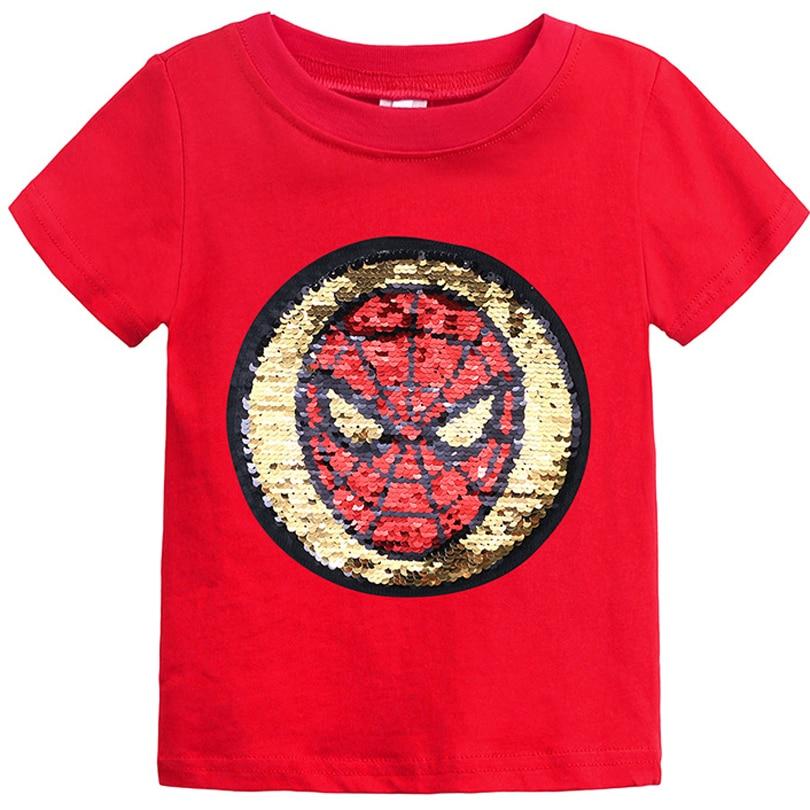 Футболки для мальчиков с блестками и надписью «Человек-паук» детская модная футболка «Marvel Hero» Детская летняя одежда