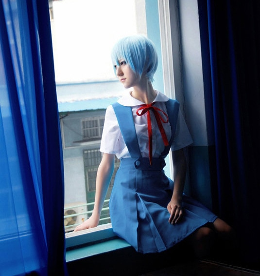 2018 Anime Eva Neon Genesis Evangelion azul Ayanami Rei Cosplay disfraz uniforme escolar Soryu Asuka Langley vestido