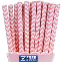 200 adet Pembe Chevron Kağıt Payet Toplu, zig Zag Bebek Kız Düğün Parti Duş Resepsiyon Parti Malzemeleri Kek Pop Sticks