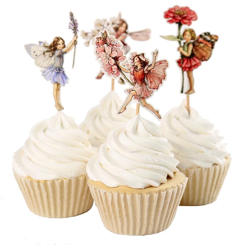 24 unids/set DIY Hada de las flores Cupcake Toppers selecciones para decoraciones de cumpleaños Año Nuevo Pascua Halloween Decoración de Pastel de fiesta Favor