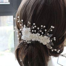 الدانتيل الأبيض زهرة العروس الشعر أمشاط frontlet تاج bridemade flowergirl خوذة الزفاف إكسسوارات الشعر