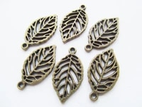 100pcs 14mmx28mm antique bronzeantique silver tone small hollow peace leaf pendant charmfindingdiy aceesory jewelry making