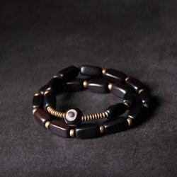 Preto tira de madeira étnica cobre multicamadas pulseira ébano anti-mal olho nepal jóias para homem feminino om duas fileiras pulseira presente