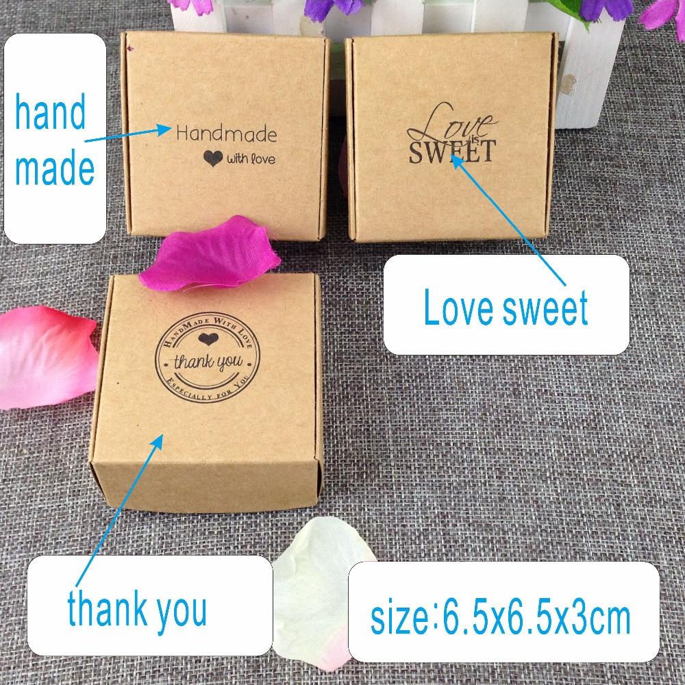 100 Uds caja de regalo marrón Kraft cajas de embalaje de papel de regalo en blanco para joyería/artesanías/caja de agradecimiento dulce de amor hecha a mano
