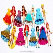 Ariel neige blanche aurore magique Clip robe poupées Figurines Action raiponce Merida Elsa Anna Statue Belle Figurines Anime enfants jouets