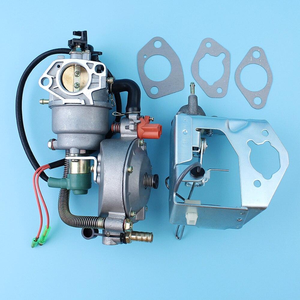 Dual Fuel Carburetor Auto Choke Pump Conversion Kit For 188F 190F GX420 15HP 16HP 5KW-8KW Generator Engine LPG / CNG / Gasoline cng and diesohols