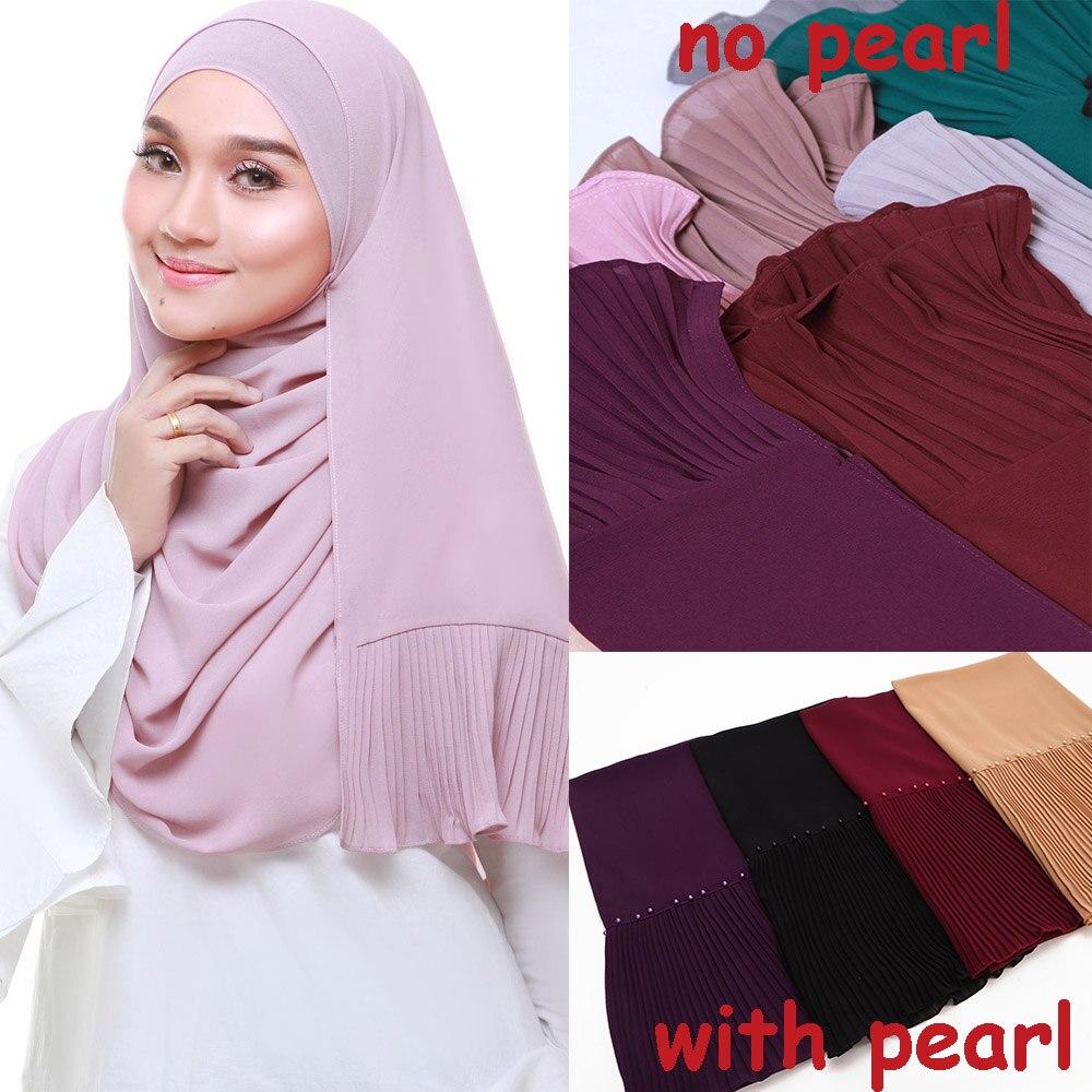 Novo lenço longo retalhos popular bolha chiffon cachecol enrugamento hijab pérola plissado cachecol costura silenciador lenços muçulmanos