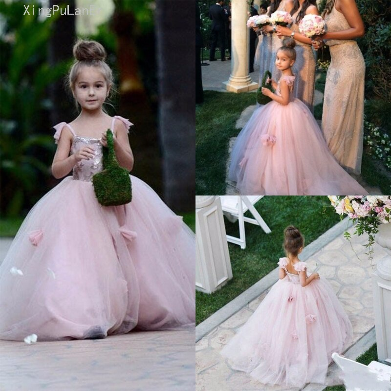 long sleeve flower girl dresses for weddings ball gown tulle lace beaded baby long first communion dresses for little girls Pink Flower Girl Dresses 2019 For Weddings Ball Gown Spaghetti Straps Tulle Long First Communion Dresses For Little Girls