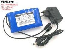 Varicore super portátil 18650 bateria de íon de lítio recarregável capacidade DC 12 V 6800 Mah CCTV Cam Monitor de 12.6 V 1A carregador