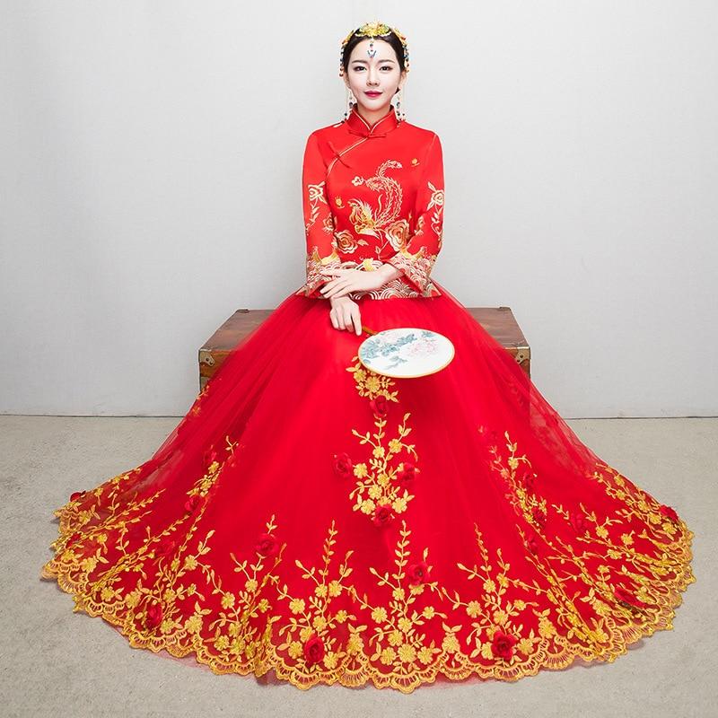 Bordado de encaje Phoenix novia Cheongsam vestido largo qipao chino tradicional vestidos de novia de China tienda de ropa Orientale
