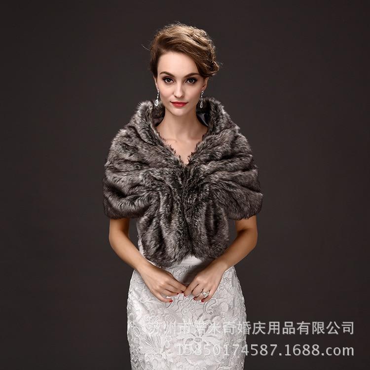 El nuevo Invierno 2016, vestidos de novia, chales de lana, vestidos de dama de honor, cálido chal de pelo de conejo, capa de miss mandes